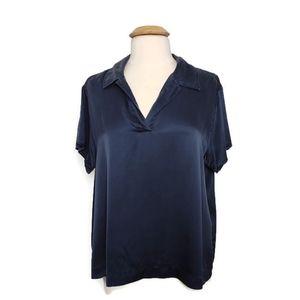 Lane Bryant Silk Short Sleeve Blouse Blue 18/20